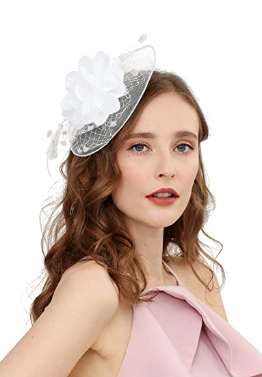 3723b445e6bb Fascinators Hats for Womens 50s Headwear with Veil Flower Cocktail Wedding  Tea Party Church Derby Hat