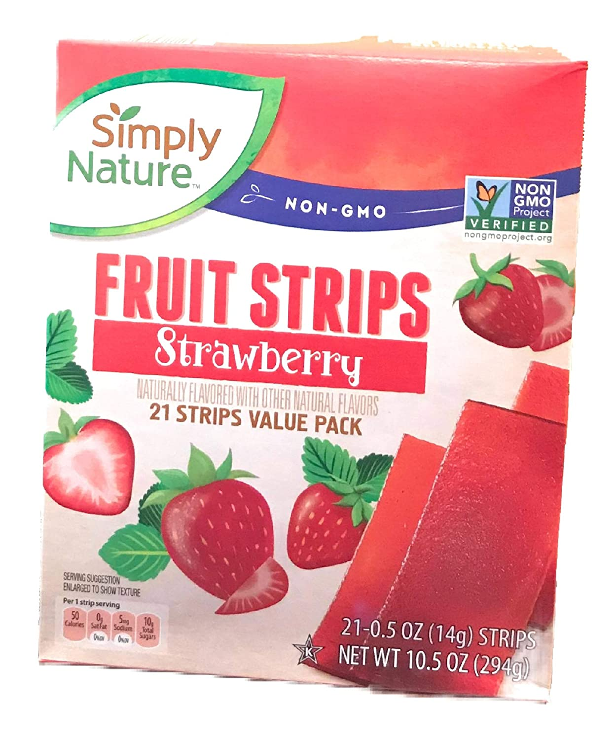 Simply Nature Non GMO Fruit Strips - Strawberry