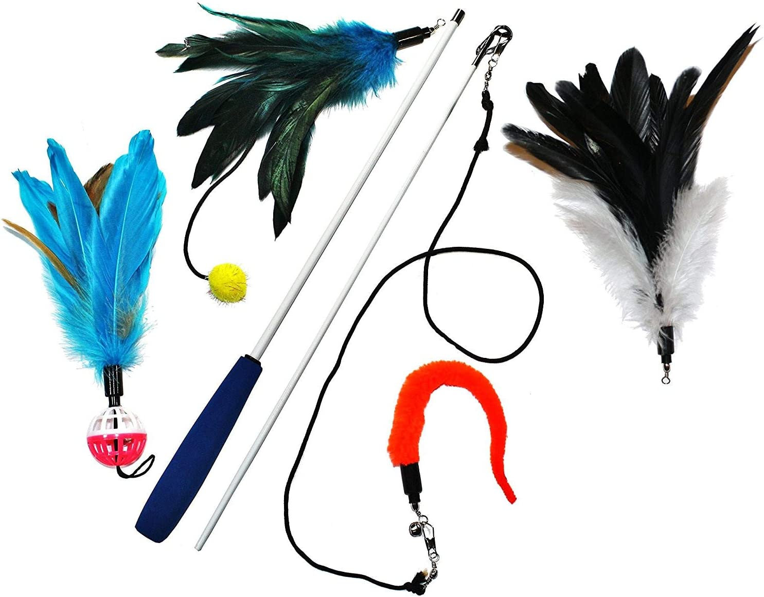 Pet Fit For Life 4 Piece Dual Rod Feather Teaser and Exerciser for Cat and Kitten - Cat Toy Interactive Cat Wand…