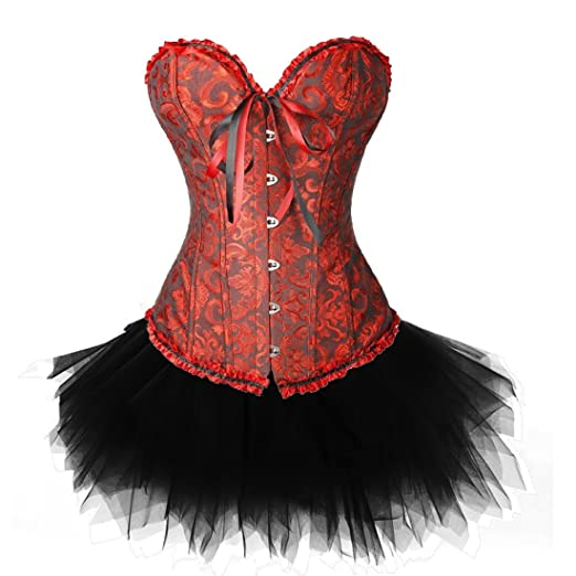 c728ef930b8 Zanuce Women s Plus Size Lace Up Overbust Corset Bridal Lingerie With  Tutu