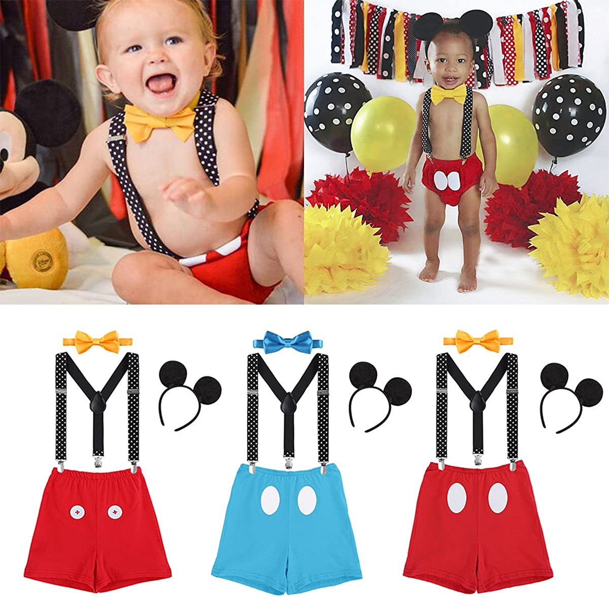 Cake Smash Outfit Baby Boy First Birthday Party Bottoms Bowtie Y-Back Suspenders Photography Props 3pcs Clothes Set