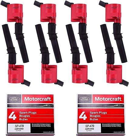 Juego de 8 bobinas de encendido rojas DG508 y Bujías SP479 para Ford 4,6 L 5,4 L V8 DG457 DG472 DG491 CROWN VICTORIA EXPEDITION F-150 F-250 MUSTANG LINCOLN MERCURY EXPLORER 3W7Z-12029-AA: Amazon.es: