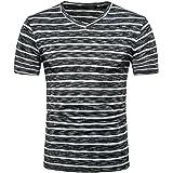 cbc4f9ac HLHN Men T-Shirt,Short Sleeve O Neck Slim Fit Stripe Print Tops Fashion