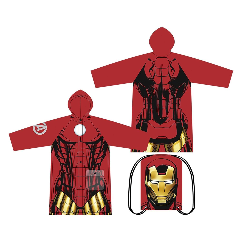 Captain America Waterproof Impermeable PVC Lightweight Hooded Raincoat Popper Fastening Closure Marvel/® Avengers PVC Raincoats Selection Of Sizes Iron Man or Hulk