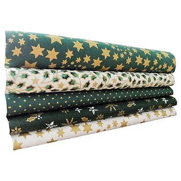 Navidad tela de algodón Craft – Fat Quarter Bundle – verde Mix