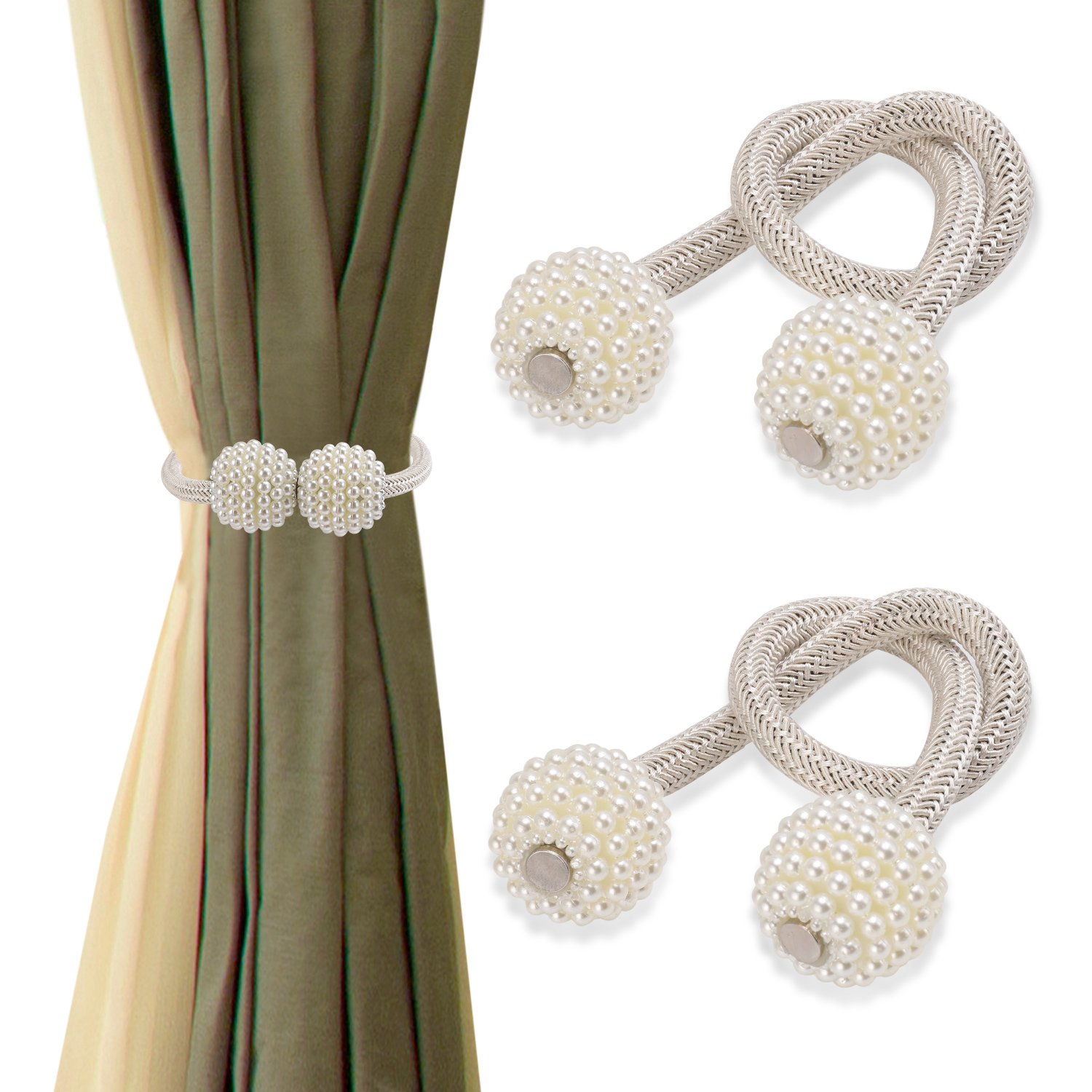 Nanami Chic 1 Pair Window Curtain Tiebacks Clips Strong Magnetic Tie Band Home Office Decorative Drapes Holdbacks European Style (Beige)