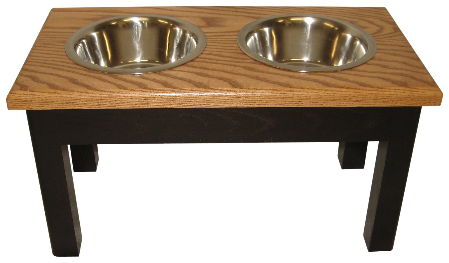 Classic Pet Beds 2-Bowl Traditional Style Ash Pet Diner, Small, Espresso/Cherry