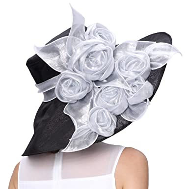 dd220b334c923 June s Young Kentucky Derby Hats For Women Floppy Big Brim Silver Rose at Amazon  Women s Clothing store