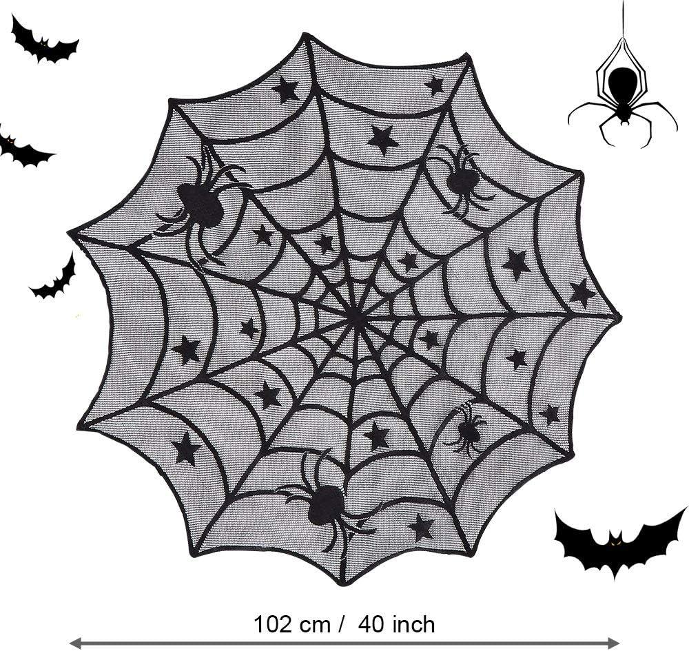 DECARETA Mantel de Halloween Telara/ña de telara/ña negra redonda Telara/ña de decoraci/ón de mesa de Halloween de 102 cm de di/ámetro Telara/ña para carnaval Decoraci/ón de fiesta de Halloween
