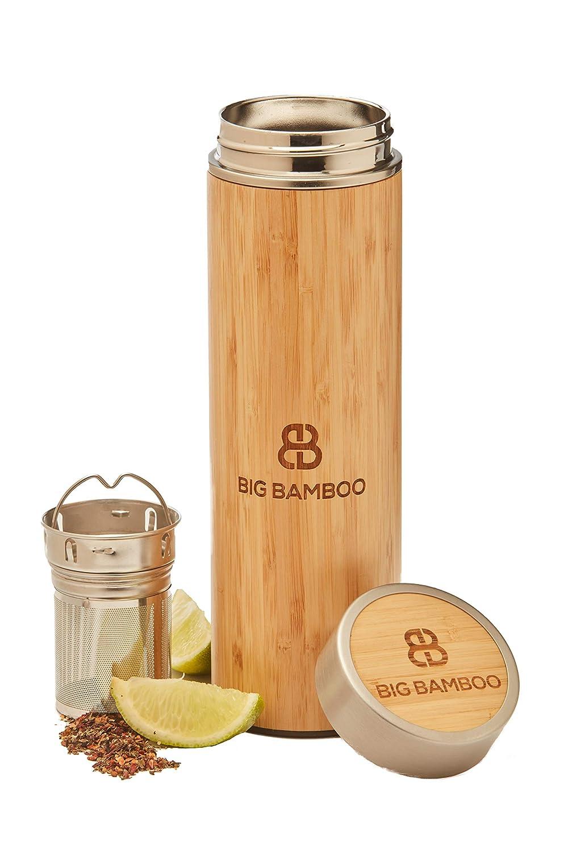 per bevande calde//fredde Infusore//thermos da 500 ml Big Bamboo in acciaio inox con infusore e filtro in acciaio inox isolato