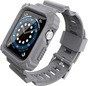 FITO Compatible with Apple Watch Bands 44mm 42mm Series with Case, Rugged Shock Resistant Case with TPU Sport Strap Bands Applicable to iWatch Series 6/5/4/3/2/1/SE - Grey