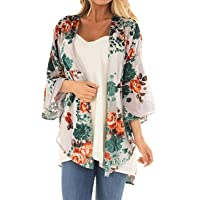 323a8c25e Women s Floral Print Puff Sleeve Kimono Cardigan Loose Cover Up Casual  Blouse Tops