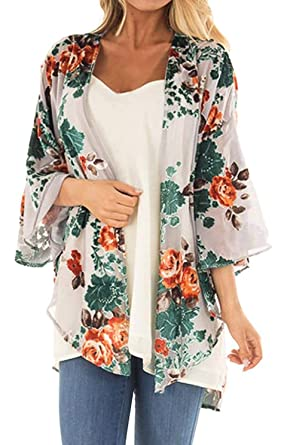 13a0fb9e04de Women's Floral Print Short Sleeve Shawl Chiffon Kimono Cardigan Casual  Blouse Tops(Apricot ...