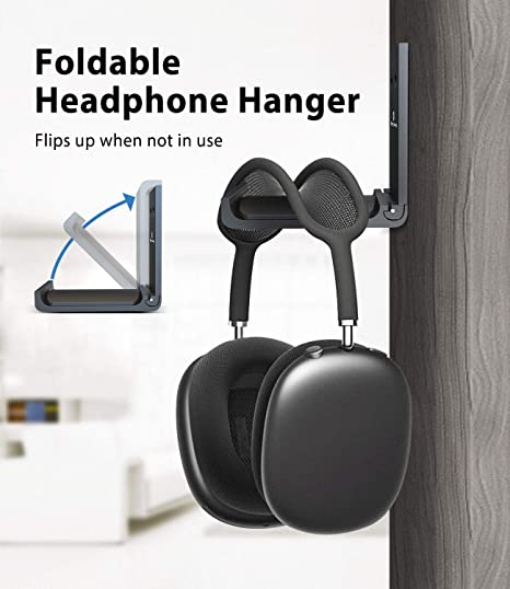 No Drilling Metal Headphone Stand For Desk Suitable For Multiple Devices,table,wall,table,Universal,Gaming Headset,cable-Rose gold Ⅰ Wall Mounted Headphone Stand