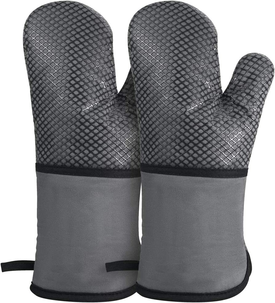GoZheec Oven Mitts, Heat Resistant up to 500 Degrees Kitchen Gloves, Extra Long Sleeve Flexible Oven Gloves with Non-Slip Silicone for Kitchen Cooking, Baking, Grilling(2 Pack-Gray)