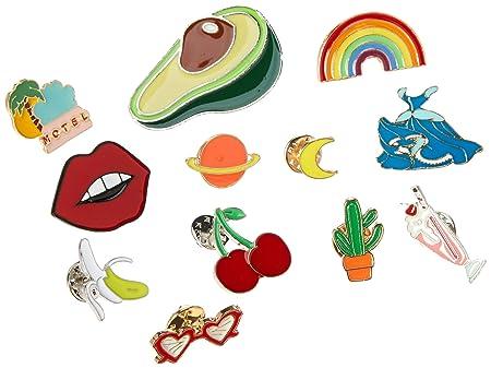 Souarts Women Girls 17pcs Carton Enamel Brooch Pin Badges For Clothes Bags  Backpacks Lapel Pin Set