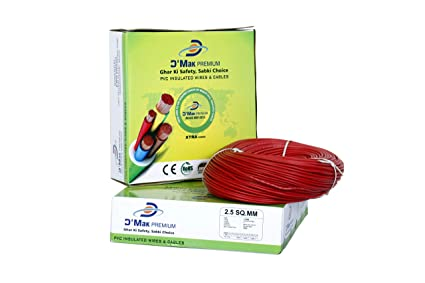 D�Mak� Premium Electrical Wire 2.5 Sq MM FR PVC Insulated Copper Wire for Home Use | Home Electric Wire | 90 Mtr Coil |