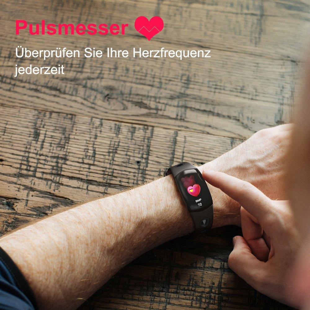 LATITOP Fitness Frauen Fitness Smartwatch mit Große 3D-Farbdisplay, Pulsmesser, Schrittzähler, Kalorienverbrauch Zähler, Schlaf-Monitor, Stoppuhr, IP67 wasserdichte Smartwatch, kompatibel mit Android IOS (schwarz)