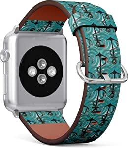 Compatible with Small Apple Watch 38mm & 40mm (Series 5, 4, 3, 2, 1) Leather Watch Wrist Band Strap Bracelet with Stainless Steel Clasp and Adapters (Sea Anchors Nautical)