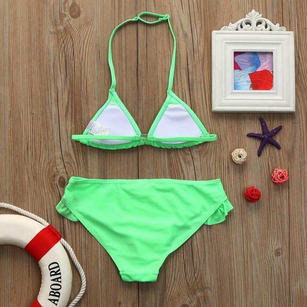 Elevin TM Swimsuit Baby Girls Infant Halter Solid Swimwear Bathing Bikini Skirt Set