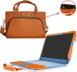 """HP Stream 14 Case,2 in 1 Accurately Designed Protective PU Leather Cover + Portable Carrying Bag for 14"""" HP Stream 14 14-AX000 Series 14-AX010NR 14-AX020NR 14-AX027CL Laptop,Brown"""