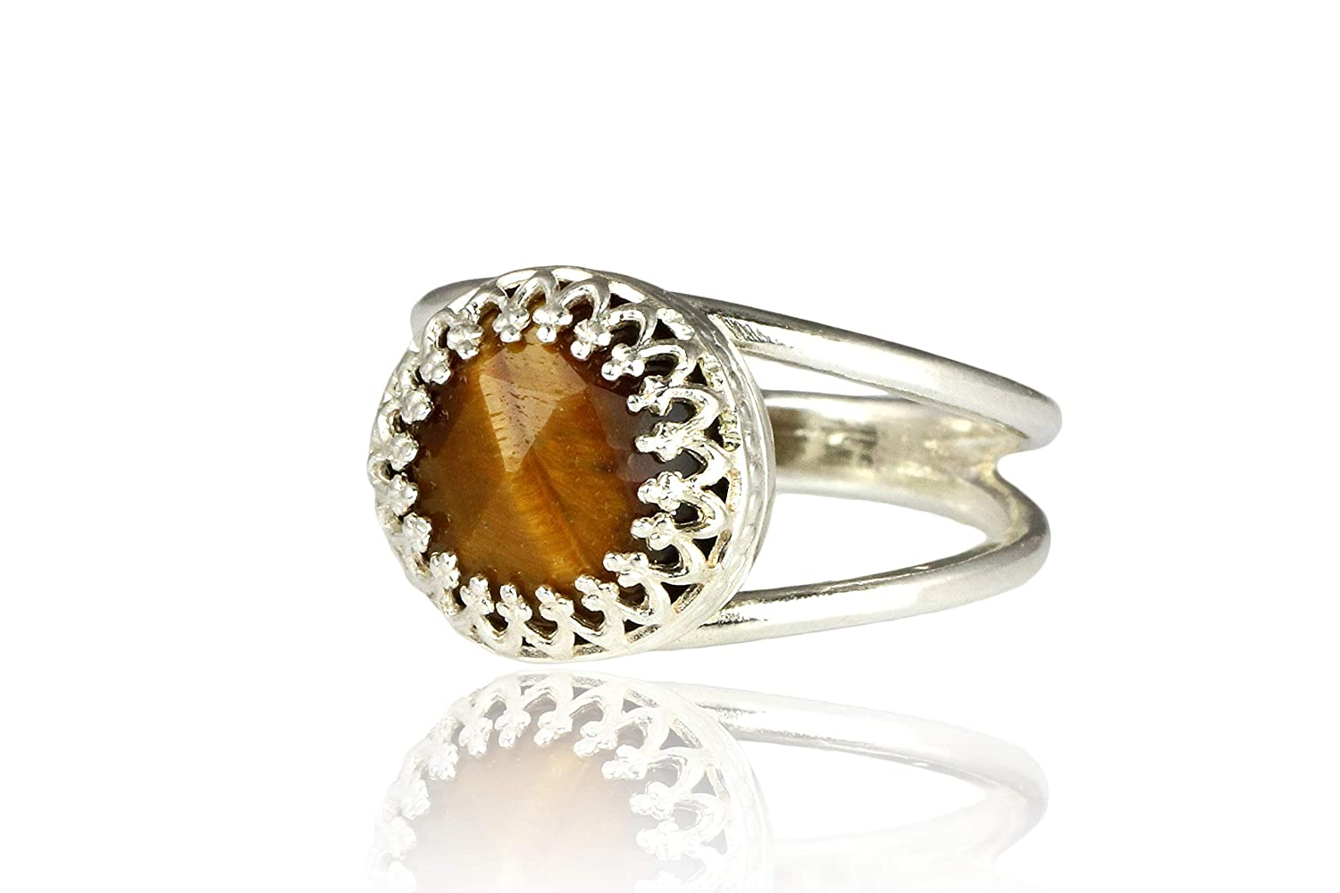 Anemone Jewelry 925 Sterling Silver Solitaire Ring Ring Jewelry Handmade by Artisan Fashion Jewelry for Women Genuine Brown 10mm Tiger Eye Gemstone Natural