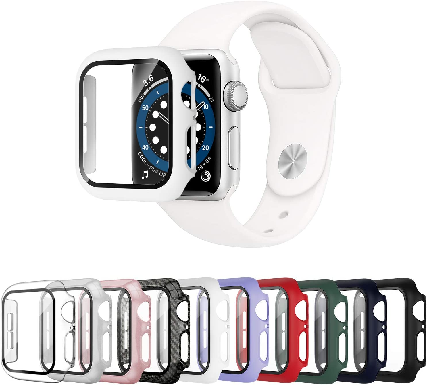 Mocodi 10 Pack Apple Watch Case 44mm Series 6/5/4/SE with Tempered Glass Screen Protector,Ultra-Thin Hard PC Shockproof Bumper Full Scratch-Resistant Protective Cover for Men Women iWatch Accessories
