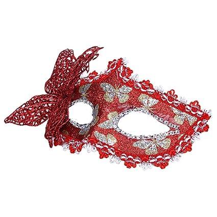SODIAL(R) Atractiva Mascara veneciana hueco de la mariposa de mascarada de decoracion de