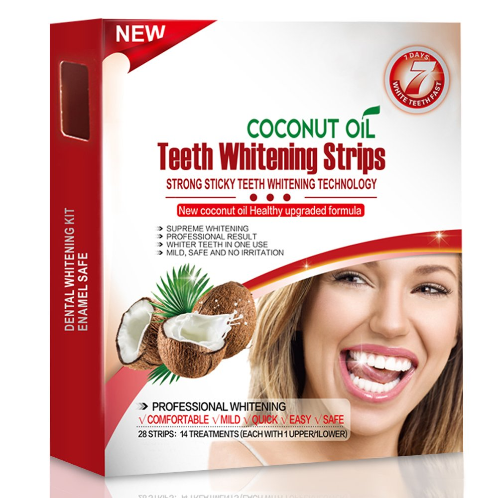 Grinigh Advanced Coconut Oil Formula Teeth Whitening Strips 28Pcs Whitestrips with Non-Slip Tech - Bright White 14 Treatments-Mint flavor