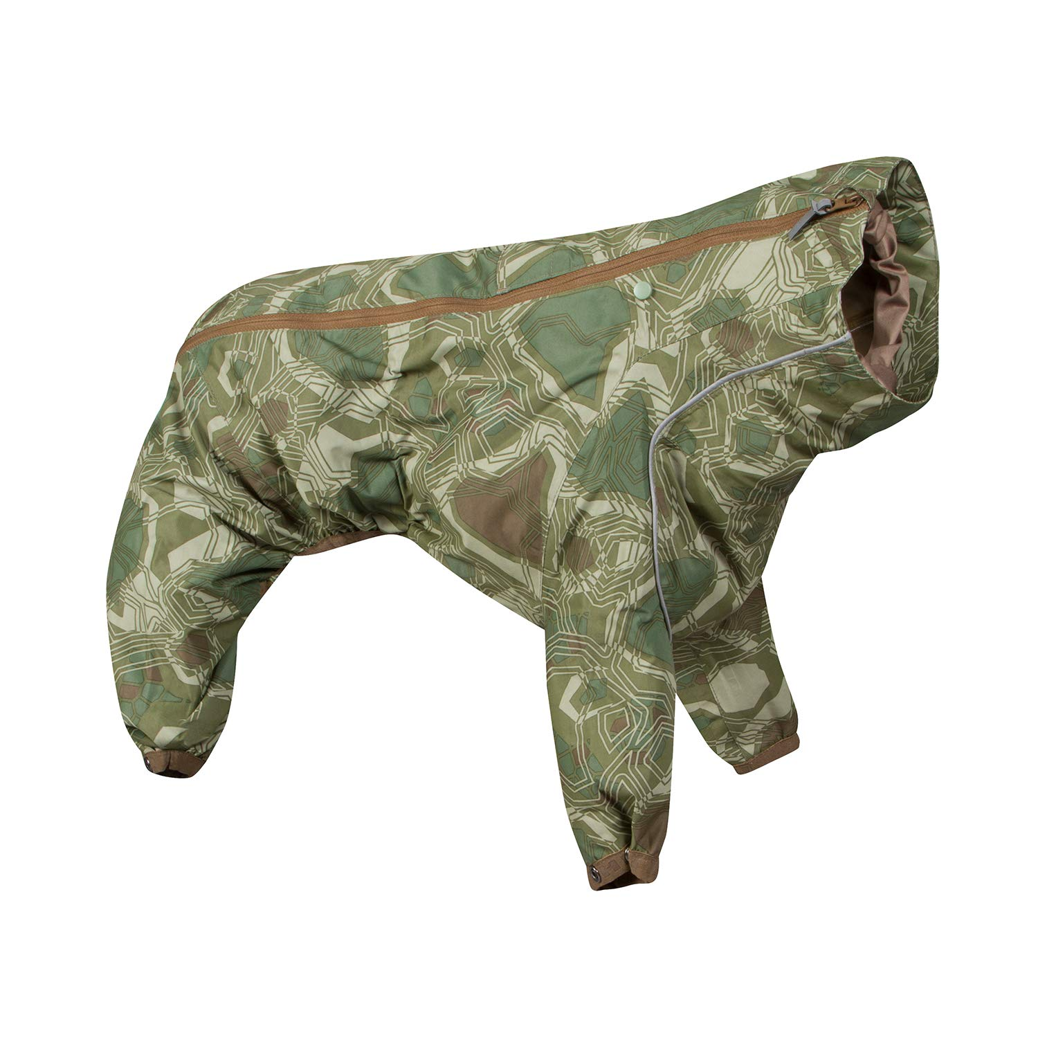 Hurtta Downpour Suit, Weatherproof Dog Rain/Snow Coat, Green Camo, 18M