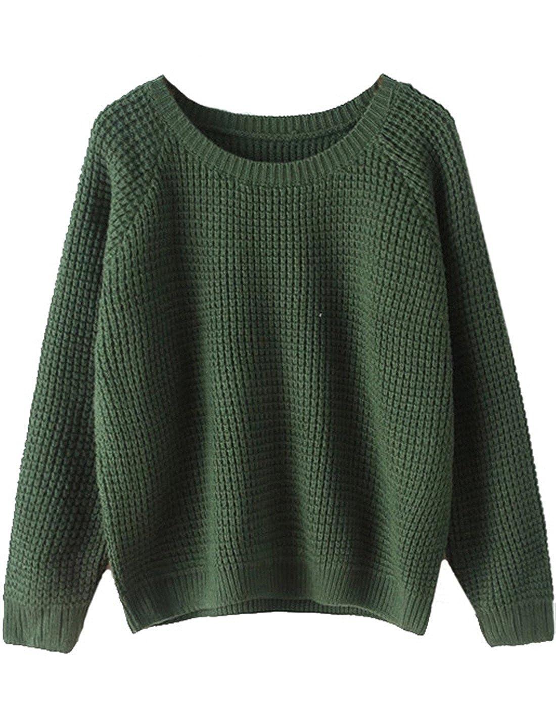 Sheinside® femeninos-Over-Sudadera de manga larga con cuello redondo, color verde green: Amazon.es: Ropa y accesorios