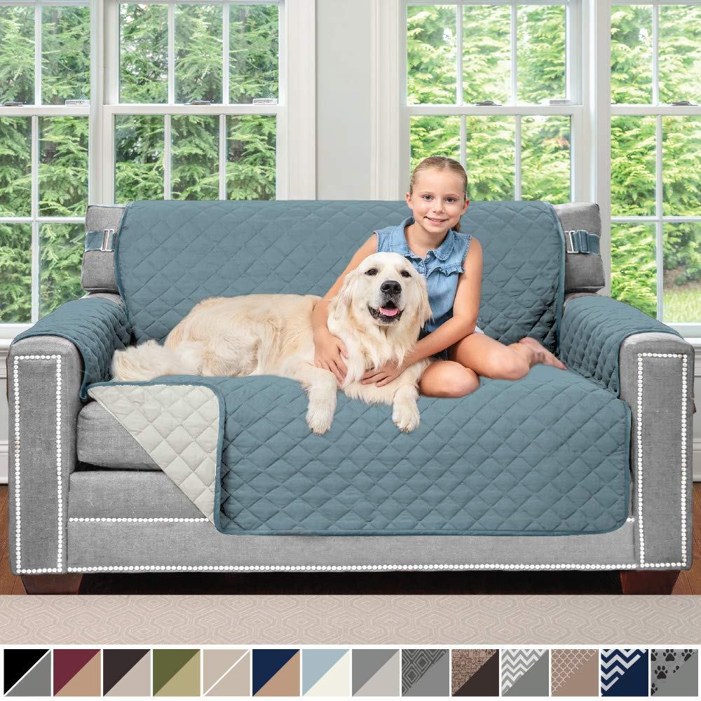 Sofa Shield Original Patent Pending Reversible Loveseat Slipcover, 2 Inch Strap Hook, Seat Width Up to 54 Inch Washable Furniture Protector, Couch Slip Cover for Pets, Kids, Love Seat, Seafoam Cream