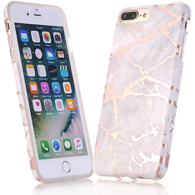 JIAXIUFEN iPhone 5 Hülle, Shiny Rose Gold Gray Marmor Serie Flexible TPU Silikon Schutz Handy Hülle Handytasche HandyHülle Et