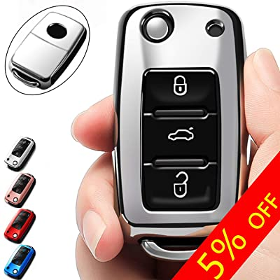 COMPONALL for VW Key Fob Cover, Compatible for VW Beetle Passat Tiguan Touran Jetta MK1-MK6 Golf GTI/Rabbit/R/MK6/MK5 Premium Soft TPU Full Protection 3-Buttons Key Fob Shell, Silver: Office Products