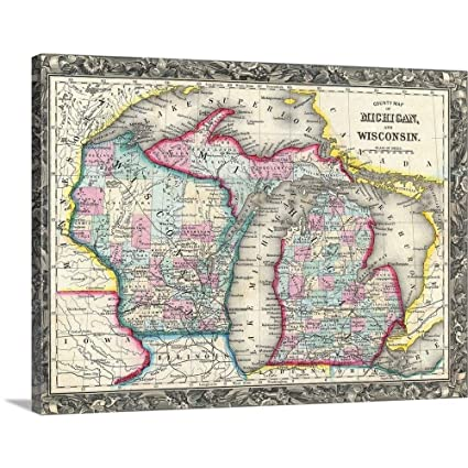 Michigan And Wisconsin Map.Amazon Com Gallery Wrapped Canvas Entitled County Map Of Michigan