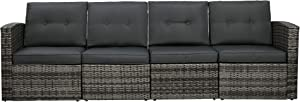 Outdoor Patio Couch Furniture,4-Seat PE Rattan Wicker Sectional Couch Sofa Seats with Cushions Lawn Balcony Poolside or Backyard (Grey/Grey),Aluminum Frame
