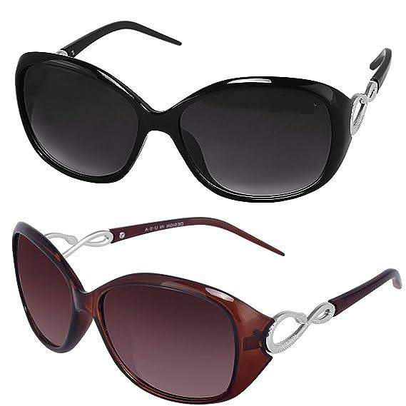 b8b49e374e Y S Womens Sunglasses Of 2 Combo Of 2 Sunglass (Black Brown) Wayfarer  Sunglasses For Womens Girls Ladies - (Butterfly-Combo-Black-Brown)   Amazon.in  ...