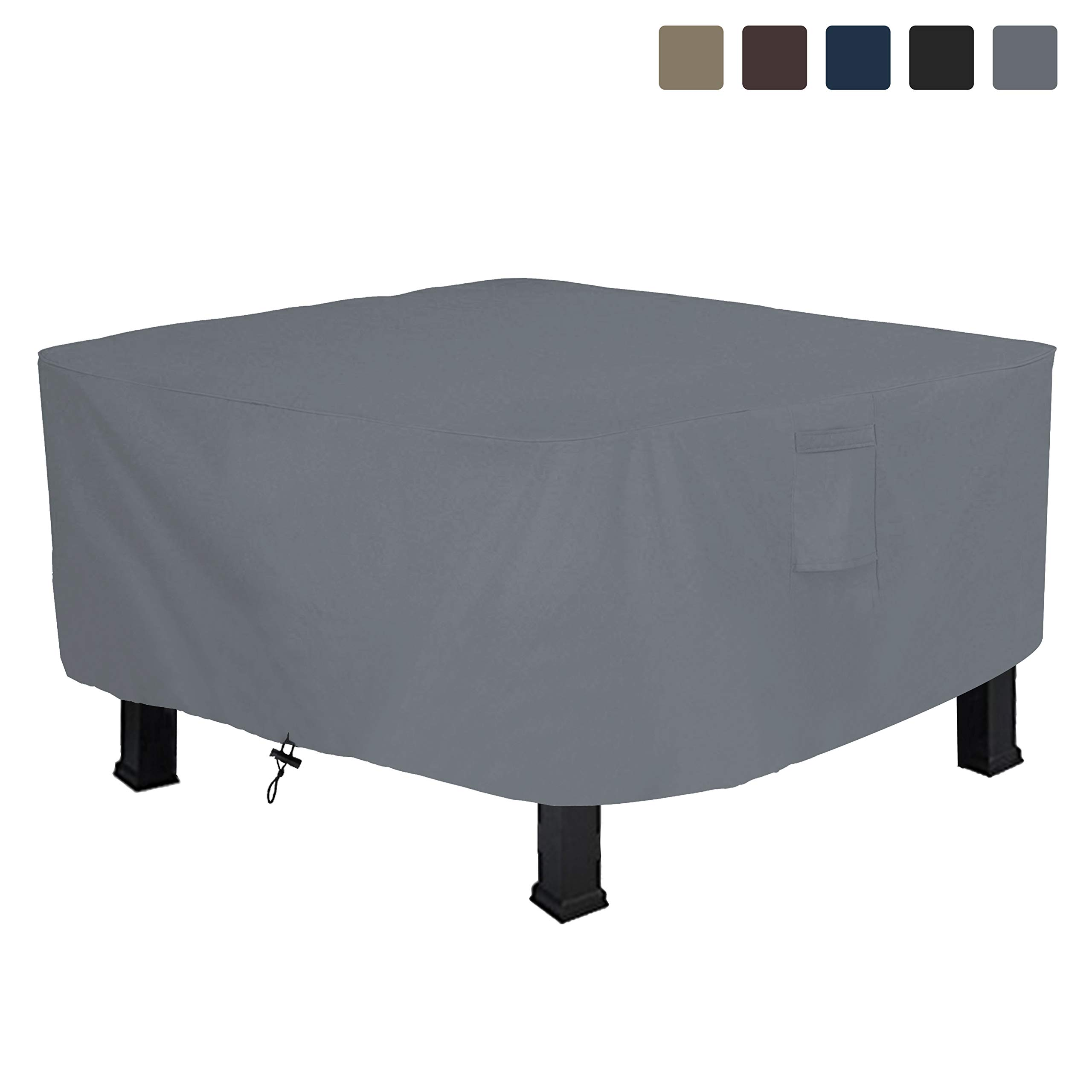 COVERS & ALL Fire Pit Cover Square 12 Oz Waterproof - 100% UV & Weather Resistant Custom Size Gas Fire Pit Cover with Air Pocket and Drawstring for Snug Fit (52'' L x 52'' W x 22'' H, Grey) by COVERS & ALL