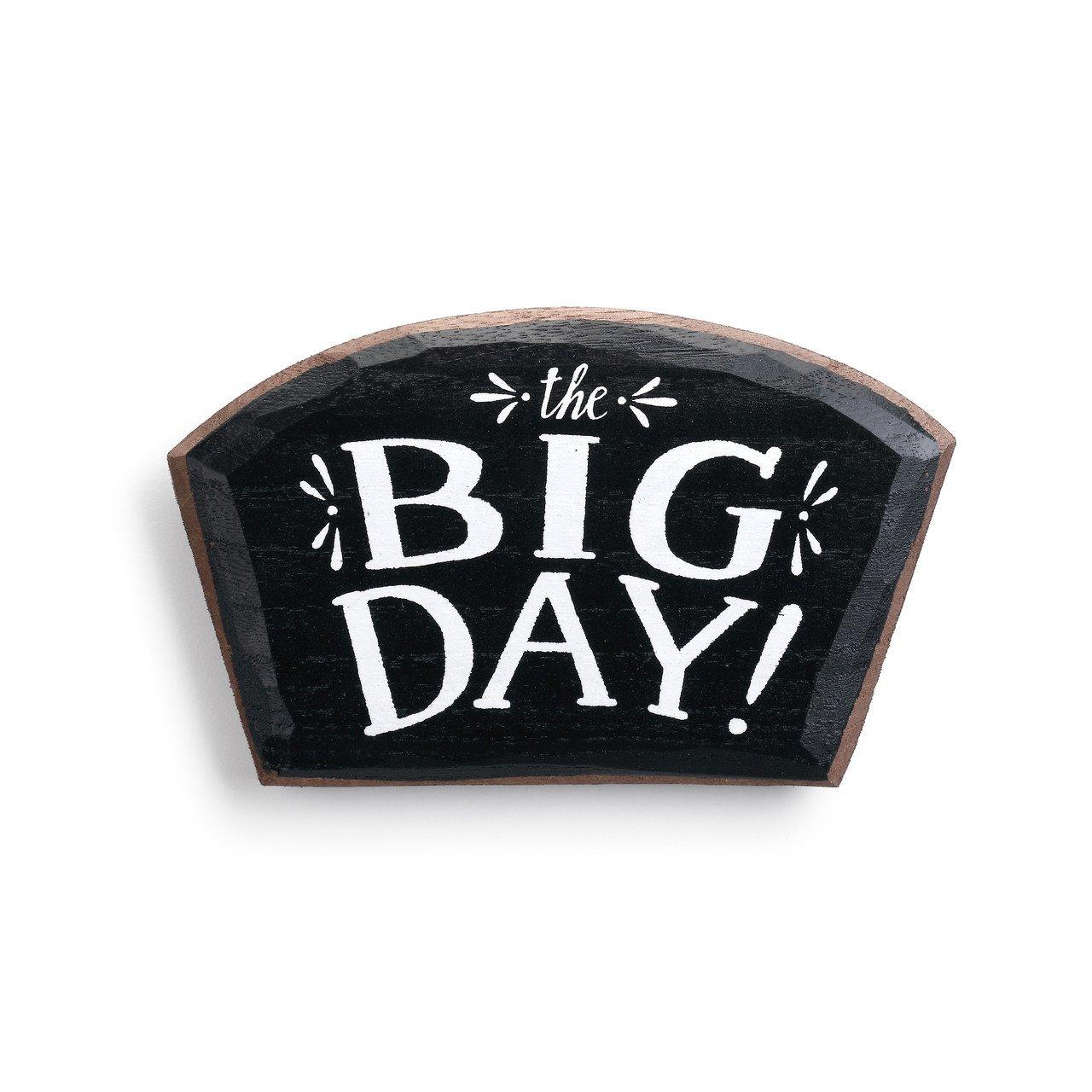 The Big Day Seasonal White On Black 7 x 6 Paulownia Wood Magnetic Token
