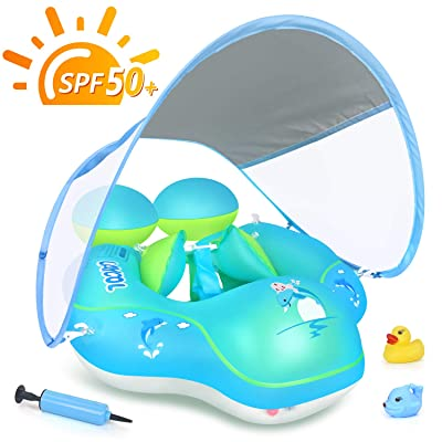 LAYCOL Baby Swimming Pool Float with Removable UPF 50+ UV Sun Protection Canopy,Toddler Inflatable Pool Float for Age of 3-36 Months,Swimming Trainer (Blue, L): Toys & Games