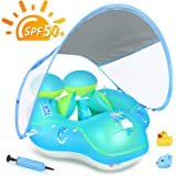 LAYCOL Baby Swimming Pool Float with Removable UPF 50+ UV Sun Protection Canopy,Toddler Inflatable Pool Float for Age of 3-36 Months,Swimming Trainer (Blue, S)