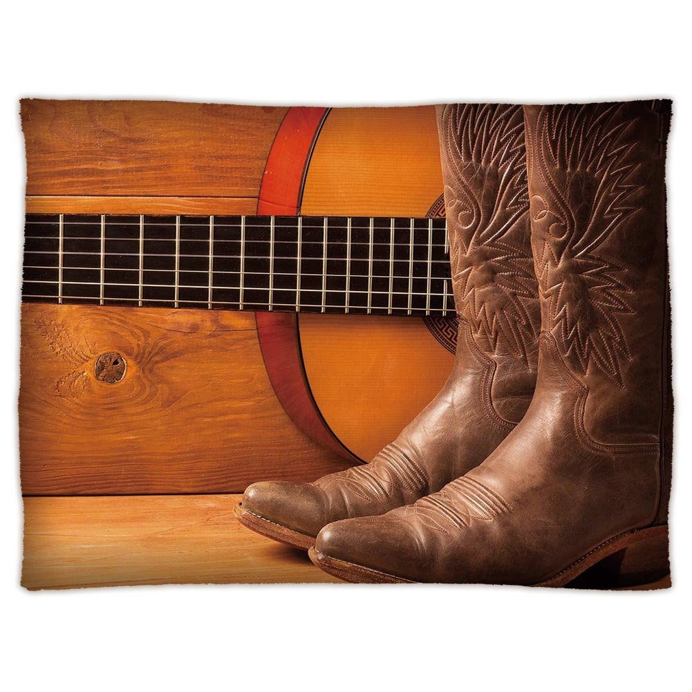 Super Soft Throw Blanket Custom Design Cozy Fleece Blanket,Western,American Country Music Theme Guitar Instrument and Cowboy Shoes on Wood Image Decorative,Brown Orange,Perfect for Couch Sofa or Bed