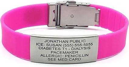 Youth Small Adult Adjustable Medical Alert ID Bracelet Pink