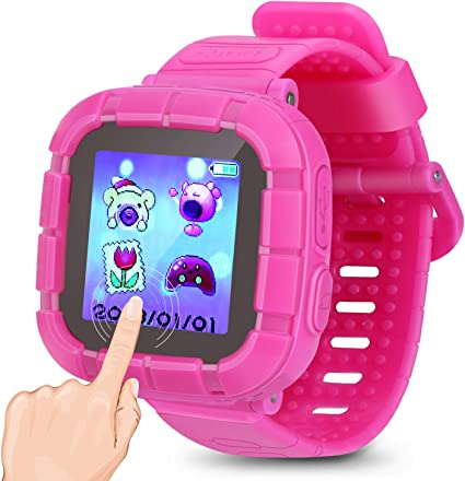 Kids Smart Watch Games Smartwatch Touch Screen Watches with Camera Timer Clock Pedometer for Kids Boys Girls Toys Holiday Birthday Gifts. (Pink)