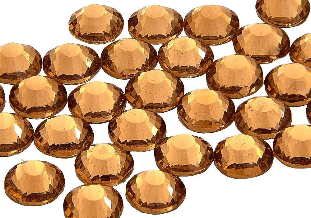 EIMASS 7767 Pack of 1440 Gems, Light Colorado Topaz, Gold ss10 (3mm) DMC Hot Fix Flat Back Rhinestones, Glass Diamantes, Flat back Glass Crystals EIMASS®