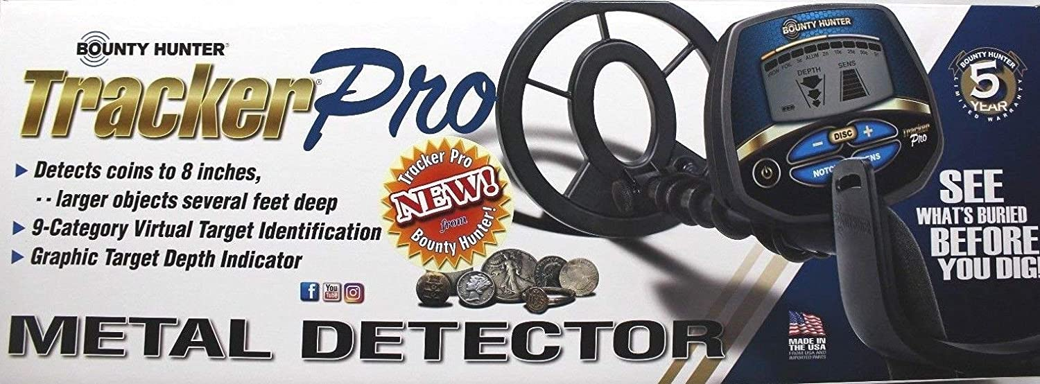 BOUNTY HUNTER TRACKER PRO ADJUSTABLE METAL DETECTOR w LCD TARGET ID