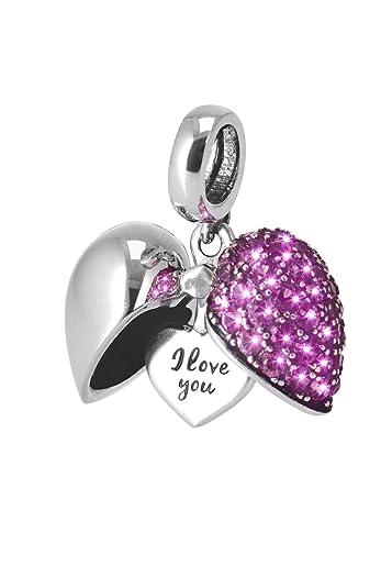 4d6c24ecb I Love You-Silver heart Secret Message Charm-Locket Bead For Necklace-Fits  Pandora Chamilia Trollbeads Bracelets: Amazon.co.uk: Jewellery