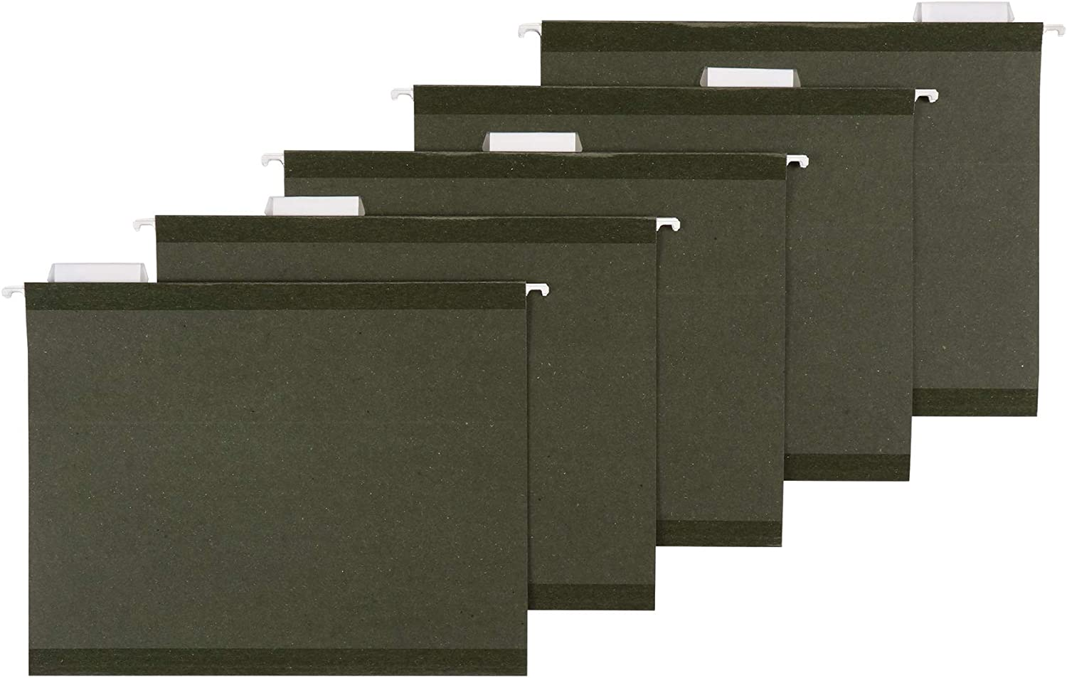 AmazonBasics Hanging File - Poly Reinforced, 1/5 Tab, Green, Letter, 25 per Box