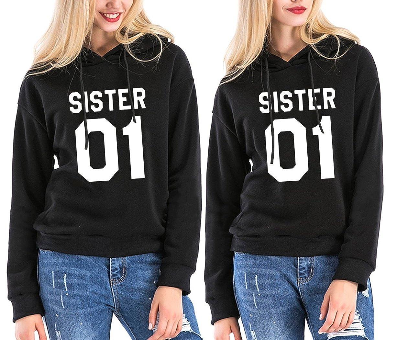 JINT Best Friends Hoodies Sister 2 Pack BFF Couple Hooded Sweatshirt for Teen Girls