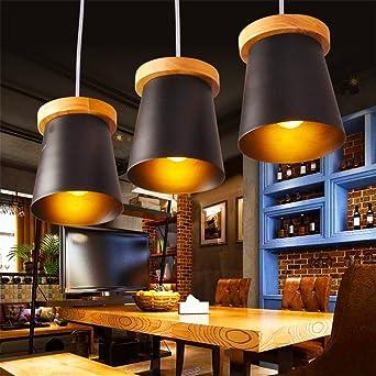 FYOUYOU Pendelleuchte Industrial Retro LED Holz Schwarz Eisen Hängeleuchte  Für Esszimmer Couchtisch 480*150mm ,
